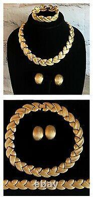 3pc Lot VINTAGE Necklace Bracelet Earrings NEW VANITY Vc LES BERNARD Gold Tone