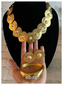 3pc VINTAGE COLLAR BIB Necklace Bracelet Earring NEW VANITY Vc LES BERNARD Pearl