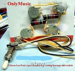 Compatible With Gibson Les Paul Bumble Bee Repro Vintage Wiring Harness & Switch