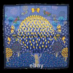 Hermes 2016 Blue Yellow Les Ailes Pleines de Joie by L. Milinkov Vintage Silk 70