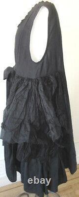 Les Ours Black Linen & Silk Organza Agape Dress Vintage Romantic Style NWT