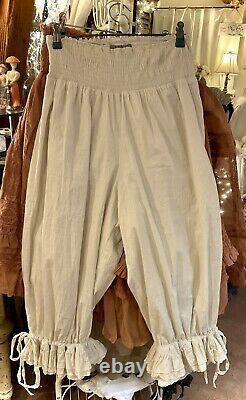 Les Ours Bloomers Hose Unterhose Leggins Rüschen Vintage Spitze Neu Gr. M Weiß