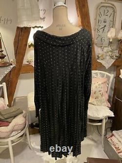 Les Ours Kleid Neu Schwarz Punkte Gr. S Sommer Spitze Vintage Shabby Rüschen