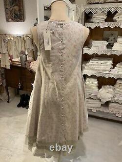 Les Ours Kleid Sommer Neu Antikrosa Geblühmt Floral Organza Perlen Vintage