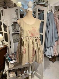 Les Ours Tunika Bluse Top Oberteil Neu Vintage Shabby Rosen Sand Annaelle
