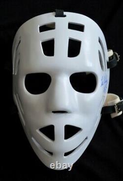 RARE Les Binkley signed autograph Vintage Style fiberglass goalie mask replica