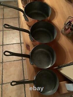 Set Of 5 Vintage French Copper Saucepans Les Cuivres De Faucogney Never Used New
