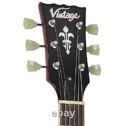 Vintage Brand LV100CS Les Paul electric guitar flame top sunburst- LEFT HAND