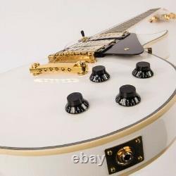 Vintage Brand V1003AW electric Les Paul 3 pickup guitar white / gold V1003