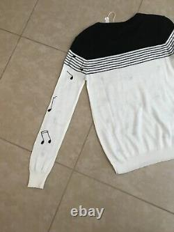 Vintage Cyn Les Sweater Embroidered Musical Notes NWT Keely Smith Memorabilia