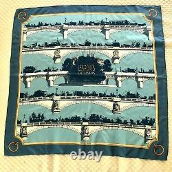 Vintage Hermes Les Ponts De Paris Silk Scarf Blue